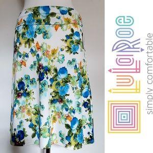 NWT LuLaRoe Azure Ivory Blue Floral Print Skirt